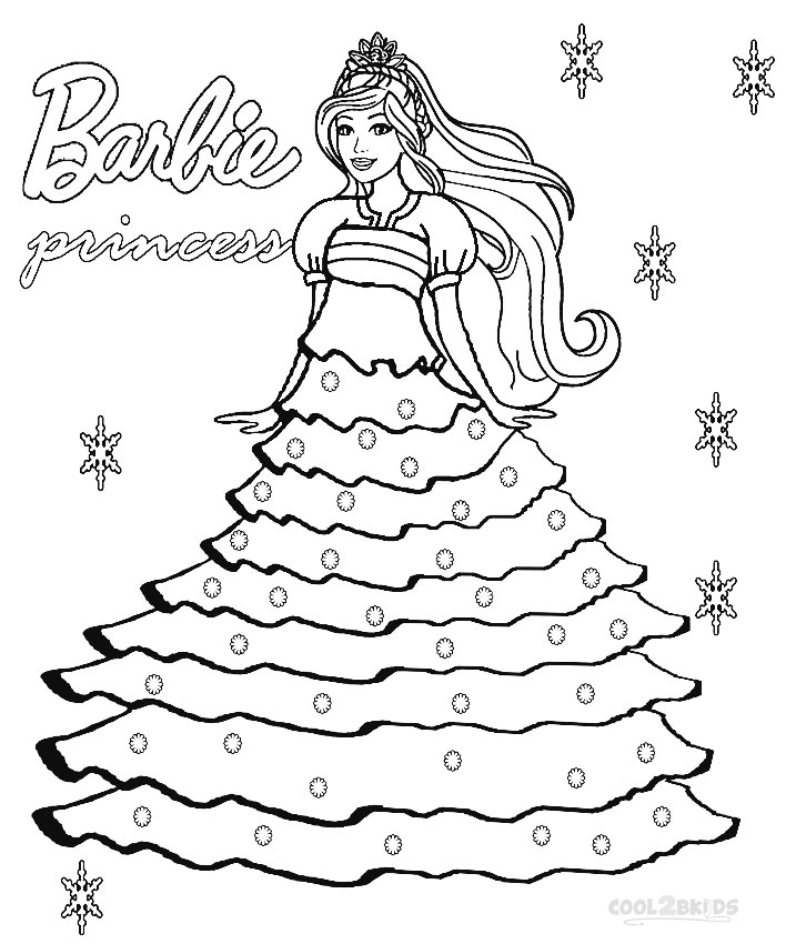princess and barbie coloring pages