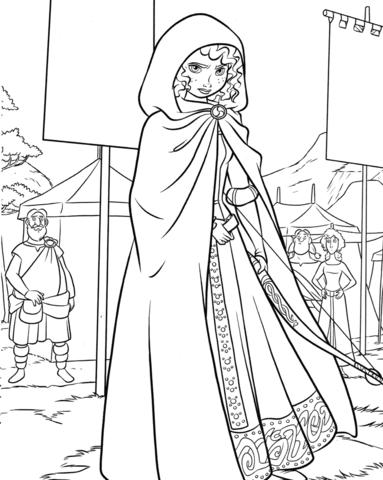 princess merida on a highland games coloring page free
