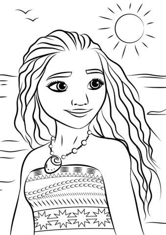 princess moana portrait omalovnka free printable coloring