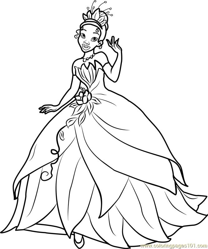 princess tiana printable coloring page for kids and adults