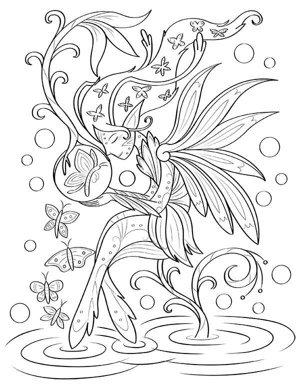 printable butterflies and fairies coloring page