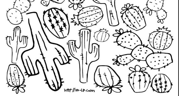 printable cactus coloring page