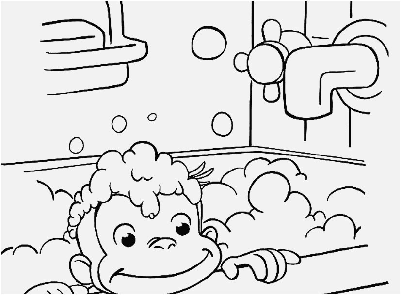 printable coloring for kids image curious george is bathing