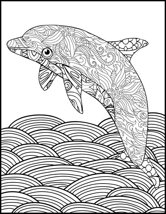 printable coloring page adult coloring page dolphin coloring animal coloring page for adults coloring pages for adults dolphin lovers