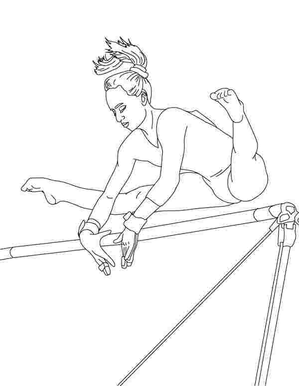 printable colouring pages gymnastics uneven horse artistic