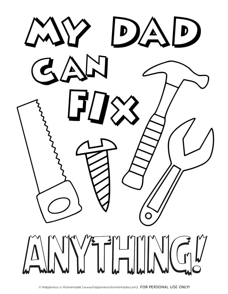 printable fathers day card coloring page happiness is