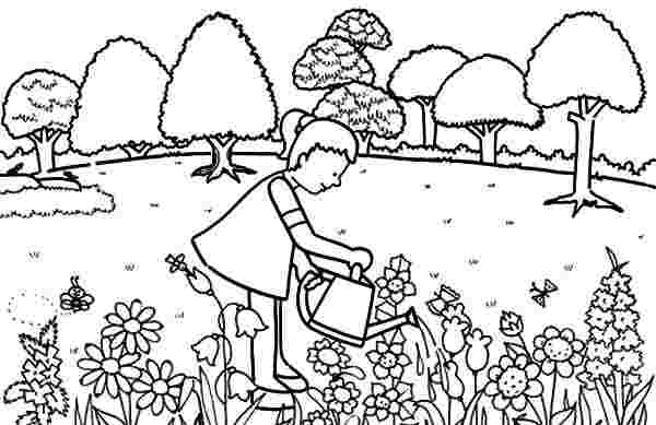 printable garden coloring pages beautiful garden in summer