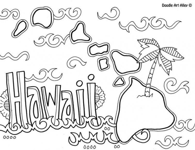 printable hawaiian coloring page for kids coloring pages