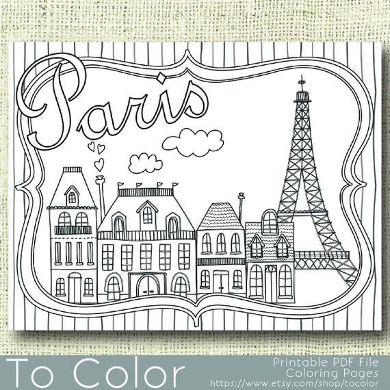 printable paris coloring page for adults pdf jpg instant download coloring book coloring sheet grown ups digital stamp