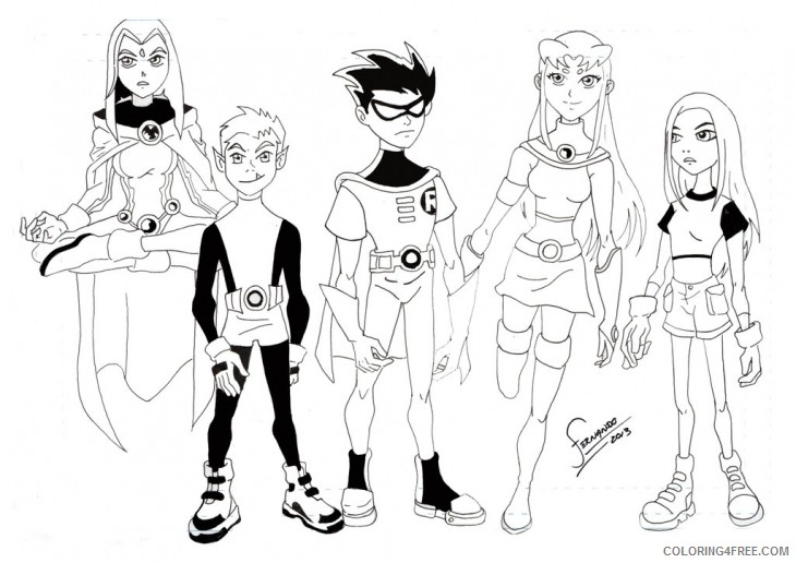 printable teen titans coloring pages coloring4free