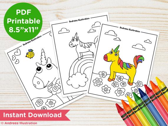 printable unicorn coloring pages instant download unicorn party activity page magic illustrated coloring page pdf unicorn party supply