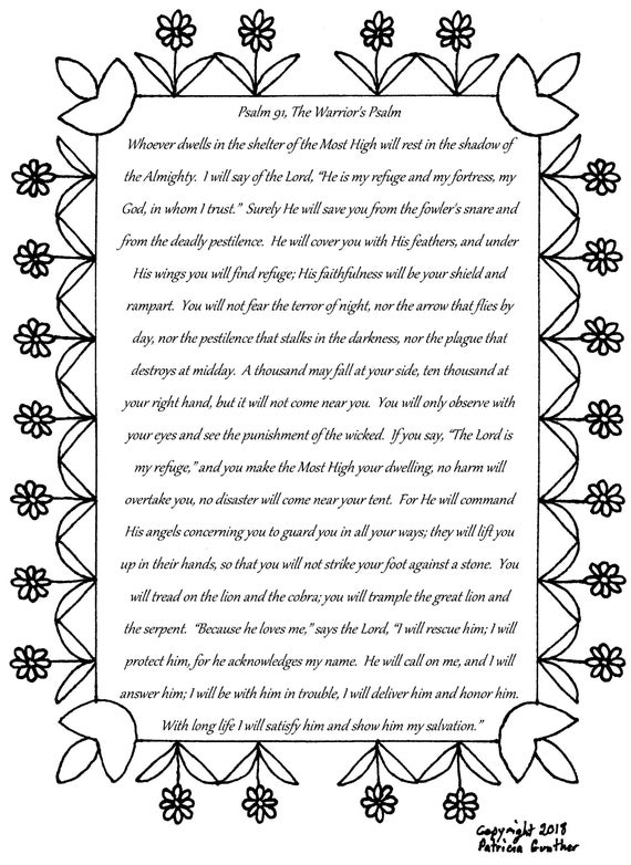 psalm 91 the warriors psalm bible verse coloring page