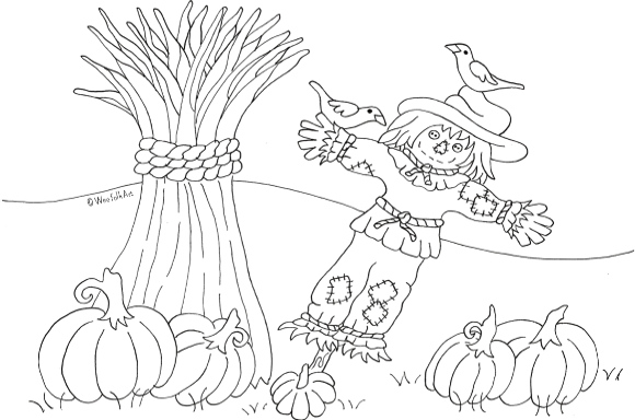 pumpkin patch scarecrow coloring page wee folk art