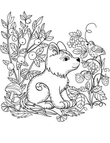puppy dog in the forest coloring page free printable