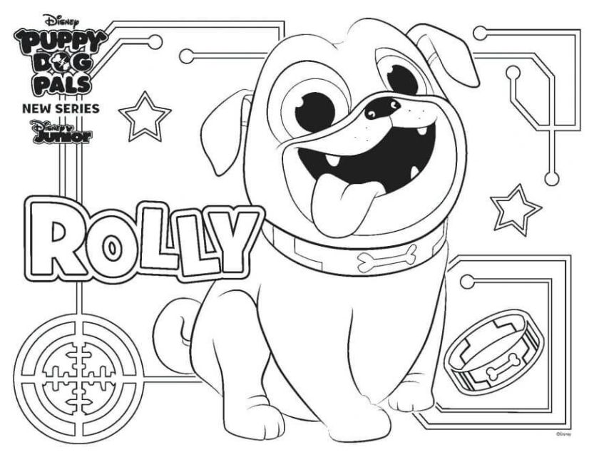 puppy dog pals coloring pages rolly basteln