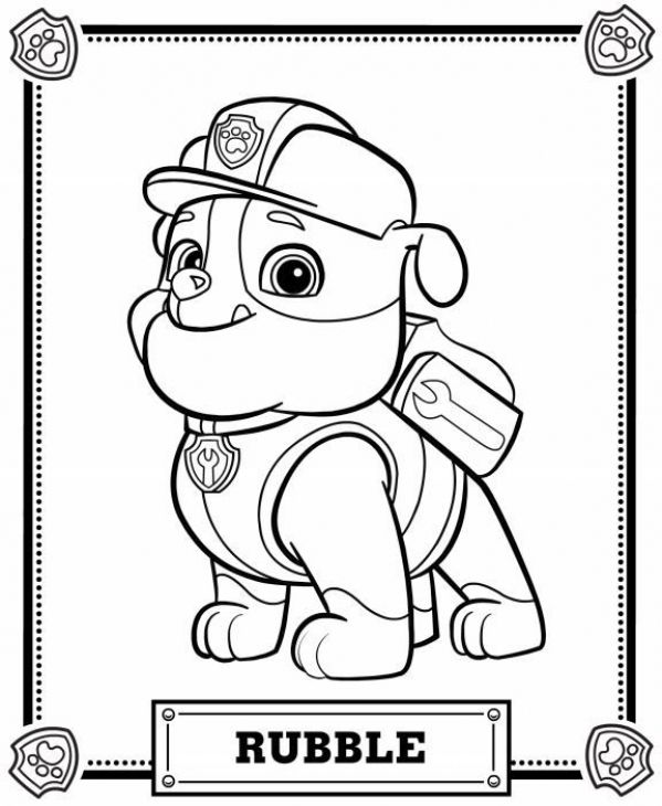 rubble the construction pup from paw patrol printable