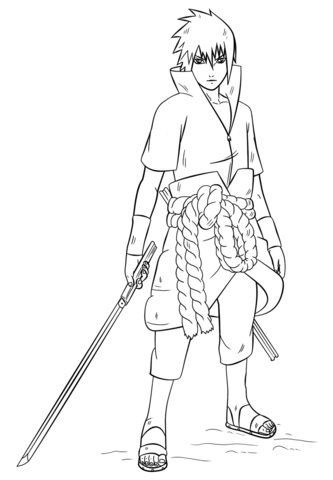 sasuke uchiha from naruto coloring page free printable
