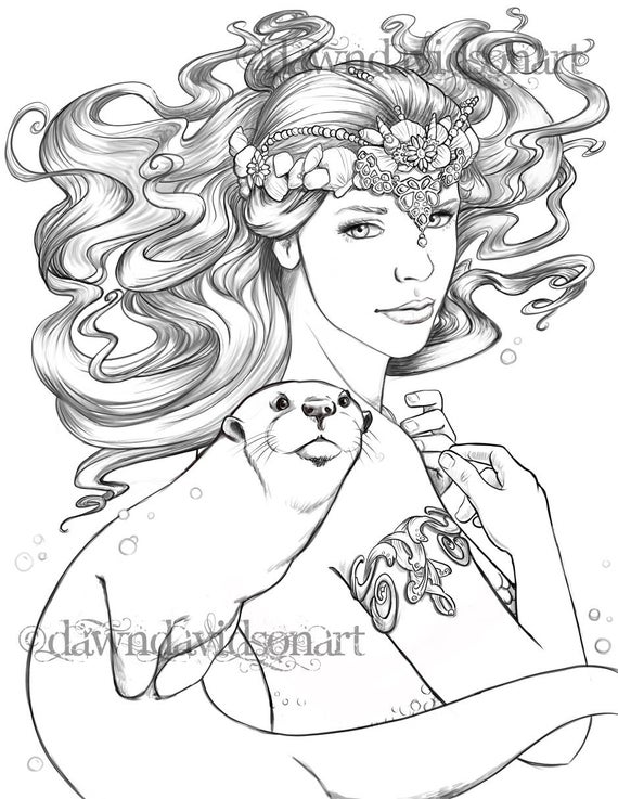 sea queen adult coloring page mermaid otter coloring page fantasy coloring mermaid art line art printable
