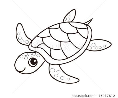 sea turtle coloring page stock illustration 43917812 pixta