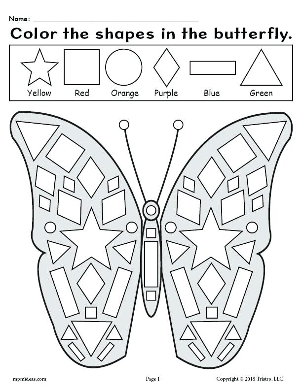 shape color pages child shapes coloring printable free