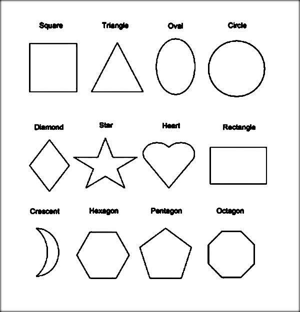 shapes with names printable sheets to color shape coloring