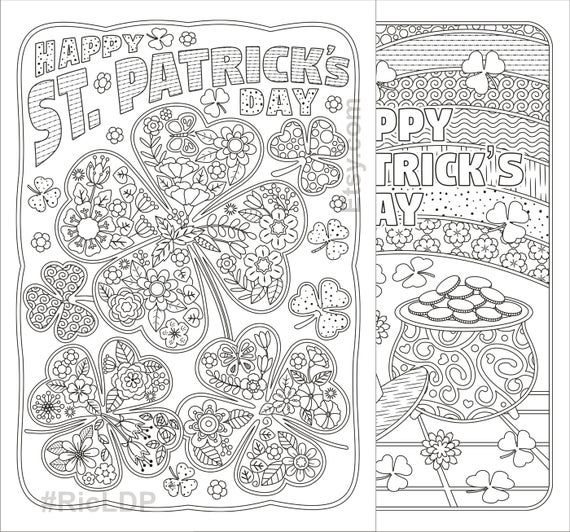 st patricks day coloring pages flowers and clover leaves shamrock design digital download