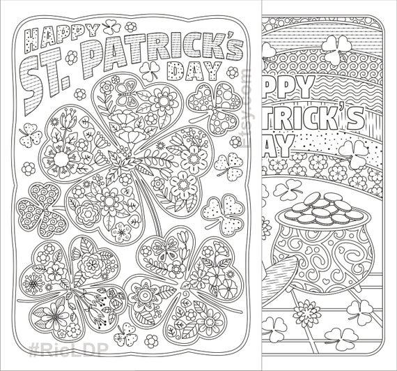 st patricks day coloring pages flowers and clover leaves shamrock design digital download
