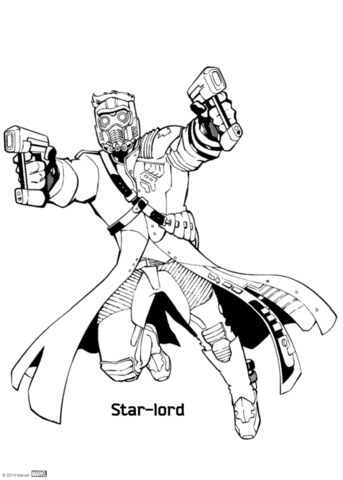 star lord from guardians of the galaxy coloring page free