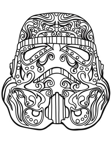 star wars stormtrooper sugar skull coloring page free