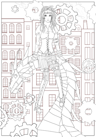 steampunk dragon coloring page free printable coloring pages