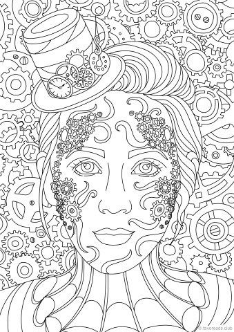 steampunk lady adult coloring pages coloring pages