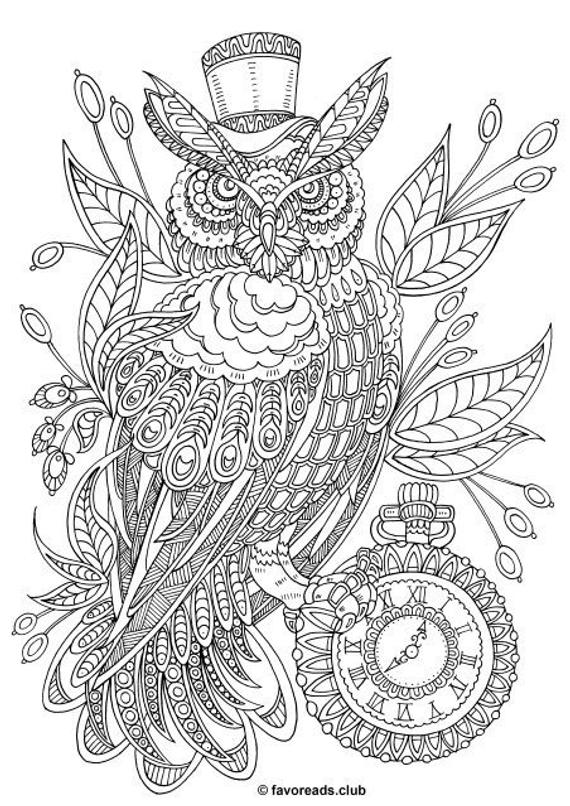 steampunk owl printable adult coloring page from favoreads coloring book pages for adults and kids coloring sheets coloring designs