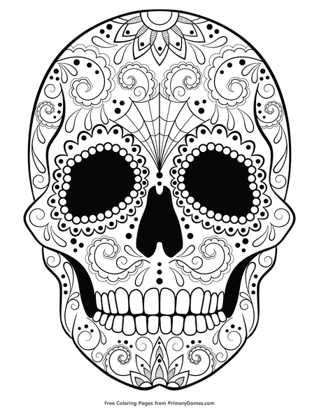 sugar skull coloring page free printable pdf from primarygames