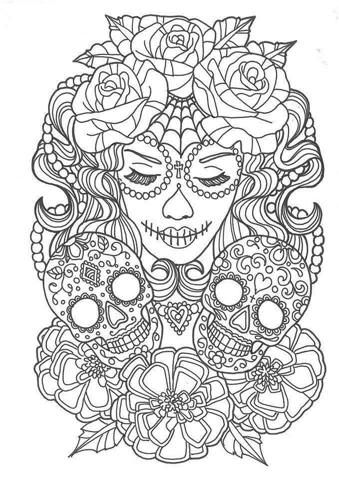 sugar skull coloring pages malvorlagen bilder zum