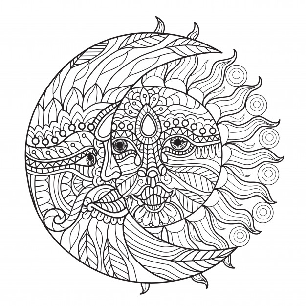 sun and moon coloring pages for adults vector premium download