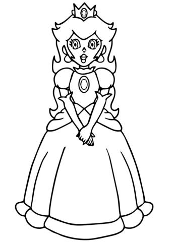 super mario princess peach coloring page free printable