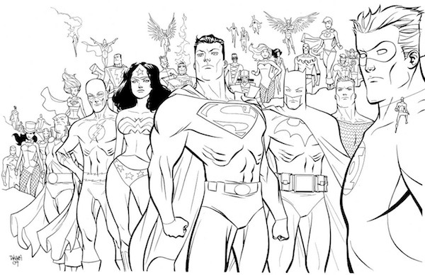 superheroes justice league colouring pages picolour