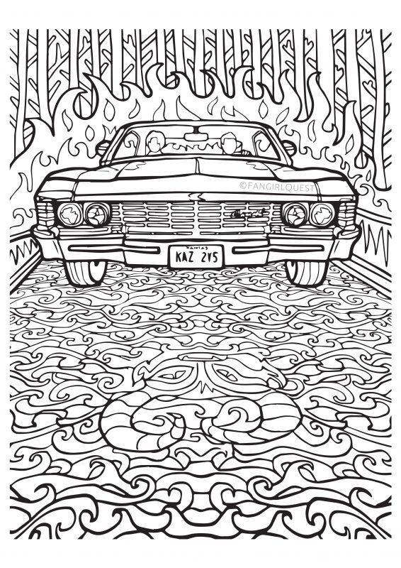 supernatural coloring images impala 67 ba