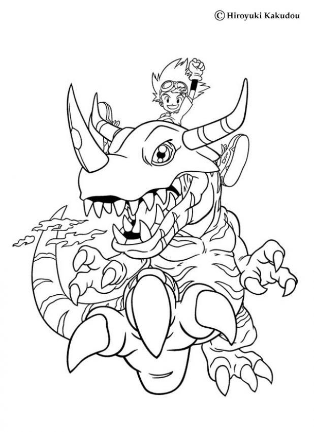 tai with a huge digimon coloring page more manga coloring