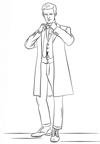 the eleventh doctor from doctor who coloring page free