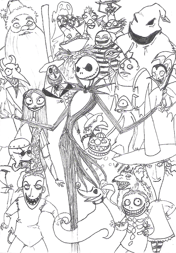 the nightmare before christmas coloring page
