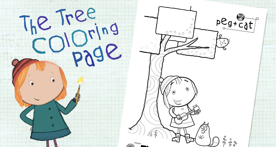 the tree coloring page activities peg cat pbs kids
