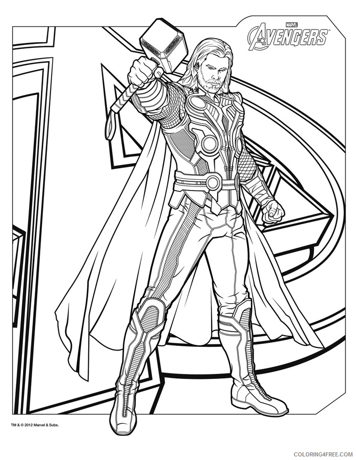 thor coloring pages the avengers coloring4free