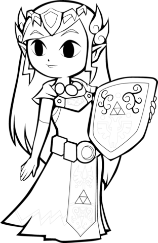 toon princess zelda coloring page free printable coloring