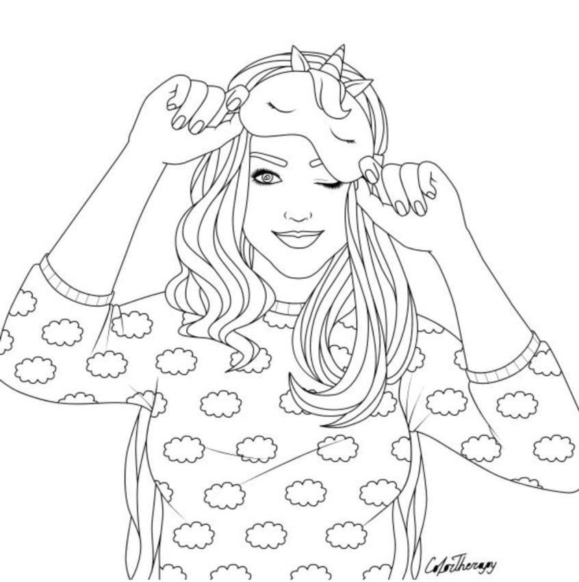 top coloring pages girl with unicorn mask free colouring