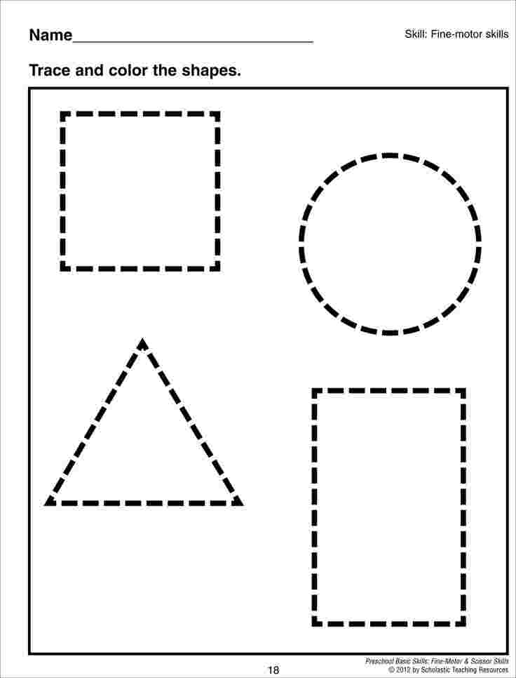tracing shapes coloring pages preschool tracing worksheets