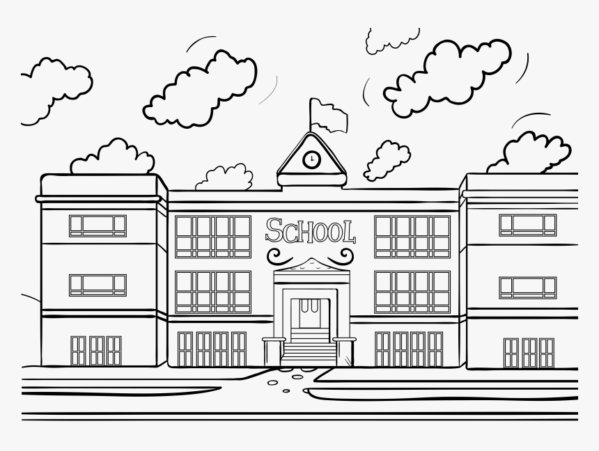 transparent library building clipart black and white