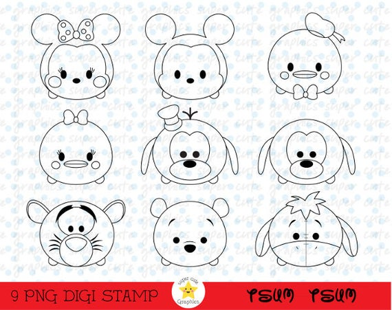 tsum tsum digital stamps tsum tsum stamps disney tsum tsum intstant download party coloring page tsum tsum digital stamp mickey stamp