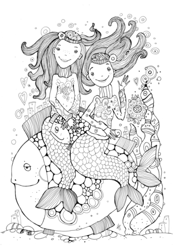 two mermaids coloring page free printable coloring pages