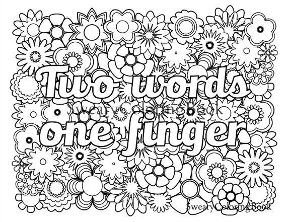 two words one finger swear words coloring page from the